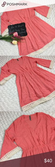 3ae9a98c10 Entro salmon pink tunic top Entro salmon pink tunic top with cream crochet  details. Snaps