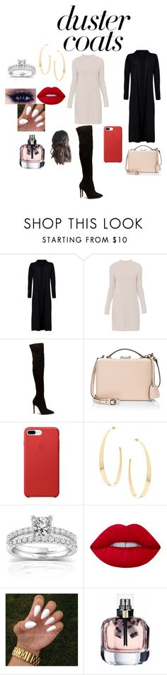 """""""Duster Coat"""" by fashionistagirl989898 ❤ liked on Polyvore featuring Boohoo, 'S MaxMara, Mark Cross, Lana, Annello and Lime Crime"""