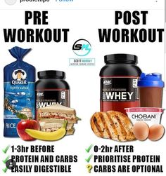 KNOW - PRE/POST WORKOUT Based on my poll yesterday only of you guys are reading this. Having some protein and carbs before and after you workout is a good rule of thumb. If you don't have an established routine prior going to the gym, you want to expe Post Workout Nutrition, Post Workout Food, Nutrition Tips, Fitness Nutrition, Pre Workout Meal, Health Tips, Athlete Nutrition, Nutrition Shakes, Nutrition Plans