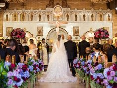 Weddings: Couple marry at St Michael's Melkite Catholic Cathedral in Darlington. #Bride wears Steven Khalil bespoke wedding gown