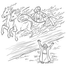 Elijah and Chariot of Fire Coloring Page