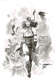 Day 18 - Elektra inkwash on A4 canson paper