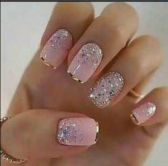 Glitter Gel Nails, Pink Nails, Acrylic Nails, Coffin Nails, Nail Glitter Design, Glitter Pedicure, Sparkle Nail Designs, Silver Glitter, Elegant Nails