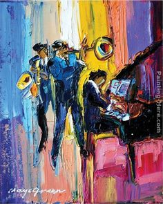 Maya Green Jazz for Lovers painting for sale - Maya Green Jazz for Lovers is handmade art reproduction; You can shop Maya Green Jazz for Lovers painting on canvas or frame. Jazz Painting, Painting Edges, Jazz Poster, Jazz Art, Stretched Canvas Prints, Art Music, Lovers Art, Find Art, Giclee Print