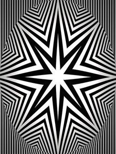 Stella in bianco e nero Optical Illusion Quilts, Cool Optical Illusions, Design Floral, Graphic Design, Deco Miami, Art Cube, Art Disney, Image 3d, Illusion Art