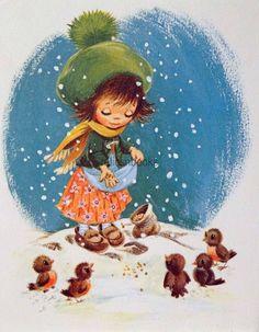 #1339 60s Arthur Thompson-Girl Feeds the Birds-Vintage Christmas Card-Greeting