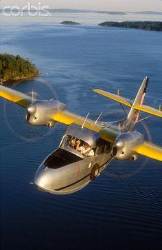 U.S. Coast Guard Grumman G-44 Widgeon Floatplane in Flight