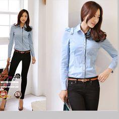Kemeja Kerja Wanita Import Lengan Panjang Blue