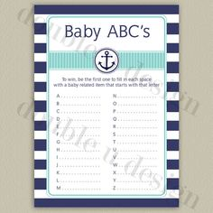 INSTANT DOWNLOAD  Nautical Baby ABCs game  Navy by doubleudesign
