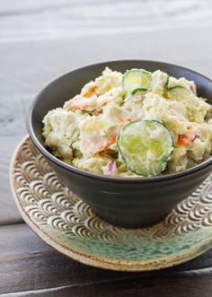 A veganized version of my Japanese potato salad recipe. Japanese potato salad is a bit different as the potatoes are roughly mashed before other ingredients are added. Vegan Japanese Food, Easy Japanese Recipes, Asian Recipes, Ethnic Recipes, Japanese Vegetarian Recipes, Chinese Recipes, Japanese Lunch, Japanese Dishes, Japanese Potato Salad