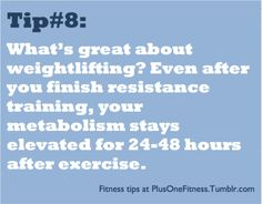 Sooo by doing crossfit every other day, my metabolism stays elevated. AWESOME! That's a first.