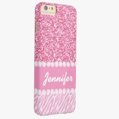 iPhone 6 Plus Cases | Girly, Pink Glitter, Zebra Stripes, Your Name Barely There iPhone 6 Plus Case