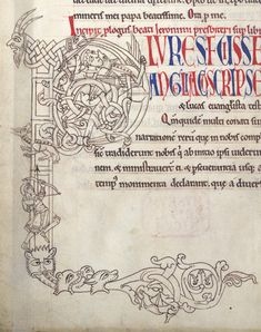 Description: Detail of an inhabited initial 'P'(lures) in outline drawing, at the beginning of the Gospel Prologue, with a man fighting wit...http://www.bl.uk/catalogues/illuminatedmanuscripts/ILLUMIN