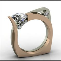 :) Harry Roa - Diamond Ring. 14K Rose Gold & 14K White Gold with Diamonds. Sarasota, Florida. Circa Early-21st Century.