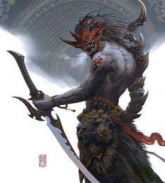 Fantasy Character Design, Character Concept, Character Art, Concept Art, Dark Fantasy Art, Fantasy Artwork, Oni Maske, Ronin Samurai, Arte Ninja