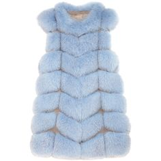 Pologeorgis     Alto Fox Vest ($2,295) ❤ liked on Polyvore featuring outerwear, vests, coats, jackets, light blue, blue vest, vest waistcoat, fox vest, fox fur vest and blue waistcoat