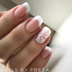 Bride Nails, Prom Nails, French Nail Designs, Nail Art Designs, French Nails, Cute Nails, Pretty Nails, Jolie Nail Art, Ring Finger Nails