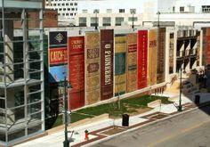Kansas City Public Library Garage Façade - painted to look like a gigantic shelf of books