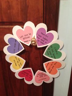 Valentine's Day wreath of Biblical love; DIY, hearts- goin to sunday school and do this with the kiddos! Valentine's Day Crafts For Kids, Valentine Crafts For Kids, Valentine Day Wreaths, Sunday School Crafts, Valentines Diy, Children's Church Crafts, Christian Crafts, Bible Crafts, Preschool Crafts