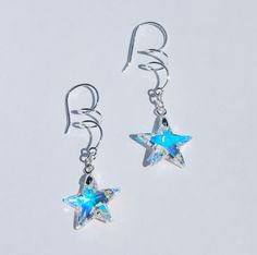 Swarovski AB star earrings, swarovski earrings, sterling earring, silver star earrings, shooting star earrings, sparkly crystal earrings - pinned by pin4etsy.com