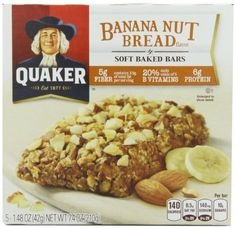 (Paleo Diet Recipe) Quaker Soft Baked Cereal Bar, Banana Nut Bread, 7.4-Ounce Packages (Pack of 6) #Paleo #Dinners