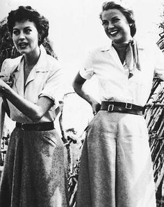 "Grace and Ava Gardner on the set of ""Mogambo"" - LOVE their split skirts, blouses and scarves:)"