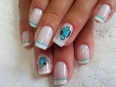 I have shared number of latest and beautiful nail designs with my viewers in my previous posts. Today I am going to share large collection of latest cool nail art which will rock during this year. Nautical Nail Designs, Nautical Nail Art, Nail Art Designs, Nail Art 2014, Nail Art Diy, Cool Nail Art, Butterfly Nail Designs, Butterfly Nail Art, Blue Butterfly