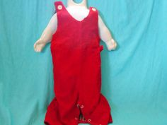 Vintage Baby Overalls Red Corduroy Vintage Baby by SETXTreasures
