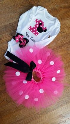 Minnie Mouse tutu set (NOT JUST BIRTHDAYS) includes tutu, onesie, and hair bow. other colors also available