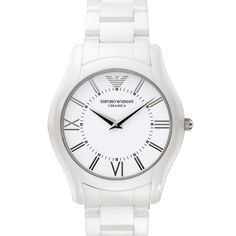 Emporio Armani Watch, White Ceramic Bracelet - All Watches - Jewelry & Watches - Macy's Mens Watches For Sale, Best Watches For Men, Big Watches, Gents Watches, Wrist Watches, Armani Brand, Emporio Armani Mens Watches, Armani White, Shops