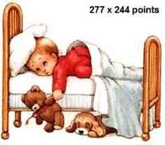 Grille point de croix bébé dans lit avec doudous