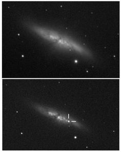 Crosshairs show the appearance of a supernova in the second of these two images of M82, taken on 10 December 2013 and 21 January 2014.