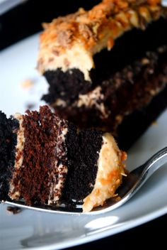 Peanut Butter Frosting on Chocolate Cake
