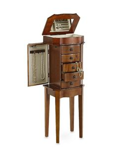 Jewelry Armoire Wood Box Cabinet Chest Organizer Necklace Stand Storage Antique
