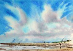 Lumière sur le Mont | Joël SIMON Watercolor Sky, Sky And Clouds, Drawing, Watercolours, Creations, Inspiration, Art, Landscapes, Watercolor Artists