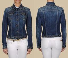 (4) Trussardi Stone Washed Denim Fitted Jacket w Metallic Studs Embellishments - Trussardi 2013 Spring Womens Made in Denim Picks - Jeanswear Jackets, Outerwear, Vests & Blouses Tops