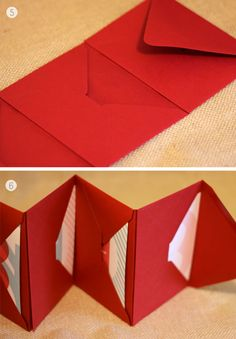 Envelope Book- Envelopes, Glue Stick, Ribbon: Use an odd # of envelopes.  Adhere envelopes together by placing adhesive on inside of flap of 1 envelope glue to front of next envelope. Fold pages accordion style, making the pointed flap of first envelope the cover of your book. Add ribbon closure. Cut small opening the width of ribbon on both sides of the last envelope and run the ribbon through. Fold up, tie the ribbon closure to keep everything safely tucked inside.