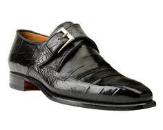 Zwarte kalfslederen gespschoen met crocoprint van Heeren Shoes & Shirts