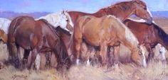 jill soukup - Wild Mustangs Casually Grazing.