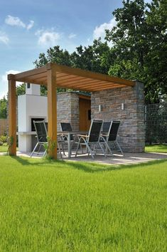 Pergola. note fireplace. replace with comfy chairs