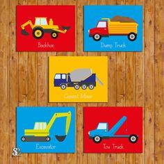 Boys Construction Trucks Equipment Transportation Wall Art Vehicles Room Decor 5 Printable Jpg Files 11x14 Instant 107