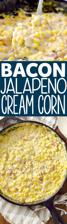 This Bacon Jalapeño Cream Corn is an easy and delicious side dish full of perfe… This Bacon Jalapeño Cream Corn is an easy and delicious side dish full of perfect flavor! This is going to be a new family favorite! Corn Recipes, Side Dish Recipes, Vegetable Recipes, Great Recipes, Favorite Recipes, Yummy Recipes, Corn Dishes, Vegetable Side Dishes, Jalapeno Cream Corn