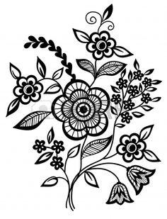 Negro y blanco flores y hojas de elementos de diseño Foto de archivo