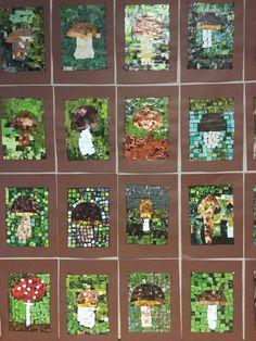 DIY Autumn Mushrooms Mosaik with paper squares..⭐🌟⭐DIY Herfst Paddestoelen Mozaïek met papieren vierkantjes.⭐🌟⭐ Syksyn sienet, mosaiikki.