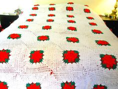 Hand-Crocheted-Bedspread-Flower-Granny-Squares-Red-Rose-Queen-King-Afghan