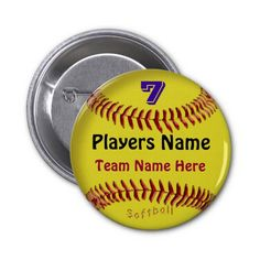 Personalized softball pins with her jersey number name and team name