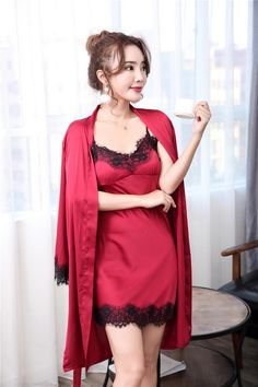 9fe844b0b8 Women Robes Gown Sets Sexy Lace Satin Sleepwear Pajamas Nightwear Silk  Night Skirts Home Clothing Sleep