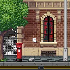 'Cat Street' by Panda-Siege Personal Project Ideas, Pixel Art Background, Anatomy Sketches, Kawaii Stuff, Game Icon, Sprites, 8 Bit, Jojo's Bizarre Adventure, Game Design