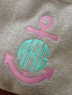 $28 Monogram Anchor Sweatshirt close-up order online at www.thepinkygirl.com