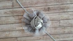 Light Grey Skinny Headband with Gray Lace Flower & Rosette - pinned by pin4etsy.com